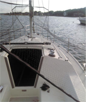 Bird deterrent system on sailboat used to stop birds from messing up boat